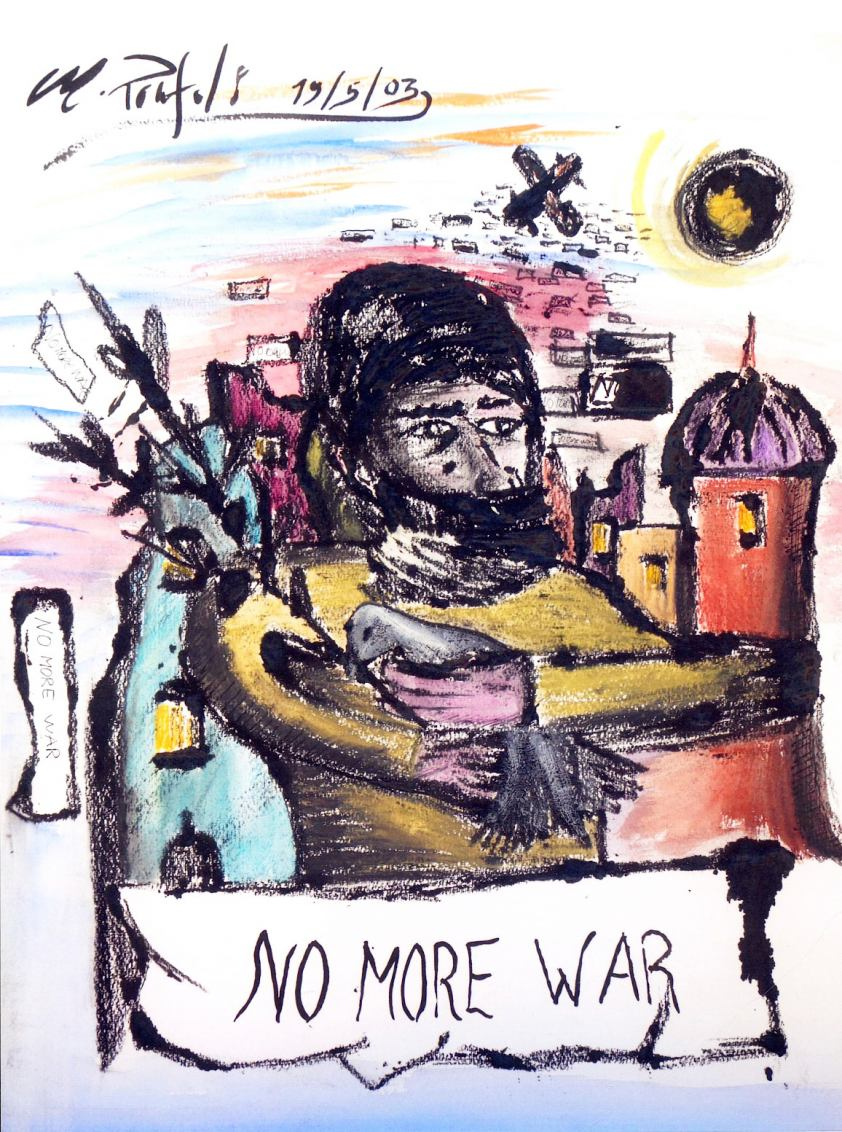 No more War 50 x 40 cm stampa a punta secca e acquerello su cartone